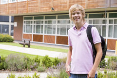 Male college student on camera Royalty Free Stock Images