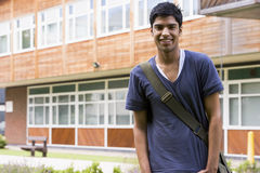 Male college student on campus Royalty Free Stock Images