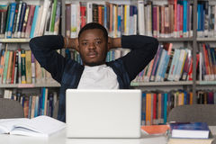 Male College Student Stressed About His Homework Stock Images