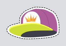 Male Colourful Rap Cap Isolated Illustration Patch. Male colourful rap cap patch. Cut out head accessory with dashed line. Stylish violet hat with greenish peak Stock Photo