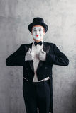Male comedy artist posing, circus actor stock photos
