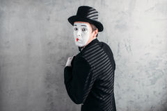 Male comedy artist posing, circus actor stock images