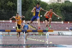 Male competitors at 3000m steeplechase Royalty Free Stock Image