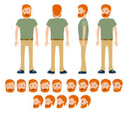 Male construction traveller for different poses set. Royalty Free Stock Images
