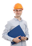 Male construction worker. Smile isolated on white Royalty Free Stock Images