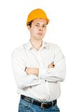 Male construction worker in hard hat Stock Photos
