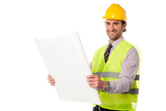 Male construction worker holding blueprint Stock Image