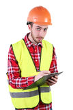 Male construction worker. Skilled Worker Engineer. Isolated on white background Stock Images