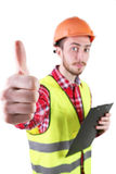 Male construction worker. Skilled Worker Engineer. Isolated on white background Royalty Free Stock Photography