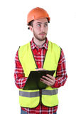 Male construction worker. Skilled Worker Engineer. Isolated on white background Stock Photography