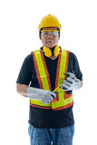 Male construction worker with Standard construction safety equip. Ment, hand holding hammer isolated on white background Stock Images