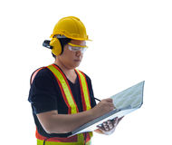 Male construction worker with Standard construction safety equip Stock Images