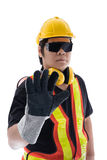 Male construction worker with Standard construction safety equip Stock Photo