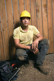 Male Construction Worker With Tools Stock Photo