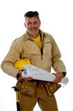 Male construction worker wearing a tool belt Royalty Free Stock Images