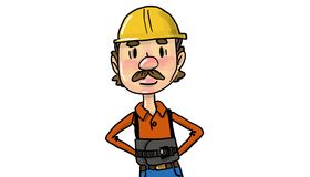 Male Construction Worker in Yellow Helmet. And Work Overall, orange t-shirt Royalty Free Stock Images