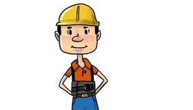 Male Construction Worker in Yellow Helmet. And Work Overall, orange t-shirt Stock Images