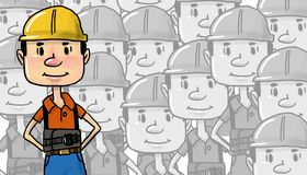 Male Construction Worker in Yellow Helmet pattern Stock Image