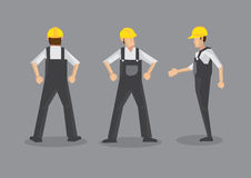 Male Construction Worker in Yellow Helmet and Work Overall Royalty Free Stock Image