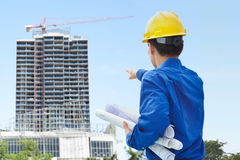 Male contractor and bulding project Stock Image