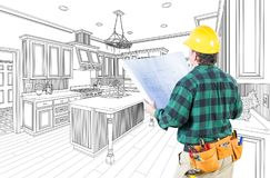 Male Contractor with Hard Hat and Plans in A Custom Kitchen. Male Contractor with Hard Hat and Plans Looking At Custom Kitchen Drawing On White stock illustration