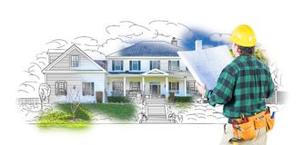Male Contractor in Hard Hat and Tool Belt Looking At Custom Home royalty free illustration