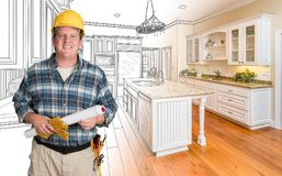 Male Contractor With House Plans Wearing Hard Hat In Front of Cu Royalty Free Stock Photography