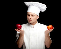 Male cook with apples Stock Photo
