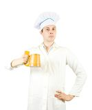 Male cook with beer mug Royalty Free Stock Photos