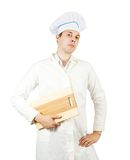 Male cook  with  cutting board Stock Photography