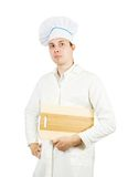 Male cook with  cutting board Royalty Free Stock Photo