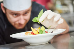 Male cook decorating dish Stock Photo