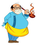 Male Cook Holding a Hot Pan, illustration Royalty Free Stock Photo