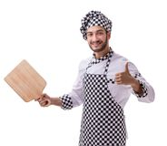 Male cook isolated on the white background. The male cook isolated on the white background royalty free stock image