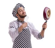 Male cook isolated on the white background. The male cook isolated on the white background stock photos