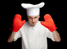 Male cook in kitchen gloves Stock Photography