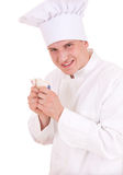 Male cook with money Stock Photo