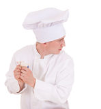 Male cook with money Royalty Free Stock Photo