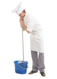 Male cook with mop Royalty Free Stock Photography