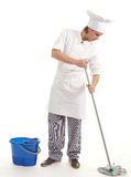 Male cook with mop Stock Photo