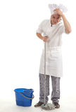 Male cook with mop Royalty Free Stock Image