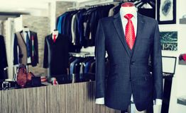 Male costume on a mannequin in men clothing store. Chic Male costume on a mannequin in men clothing store Royalty Free Stock Photo