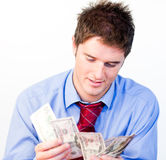 Male counting money Royalty Free Stock Photography