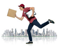 Male courier company worker delivering a package. Royalty Free Stock Photos
