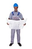 Male Craftsman Holding Blueprint Stock Photo