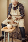 Male craftsman working on potters wheel Royalty Free Stock Photos