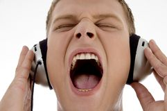 Male crazy for music Royalty Free Stock Photo