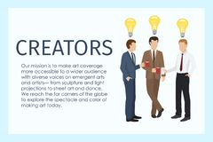 Male creators standing together with cups of coffee banner vector illustration. Lamp as sign of idea. Workers in formal vector illustration