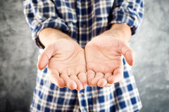 Male Cupped hands Stock Image