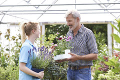 Male Customer Asking Staff For Plant Advice At Garden Center Stock Photography